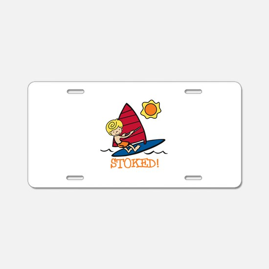 Windsurf Stoked Aluminum License Plate