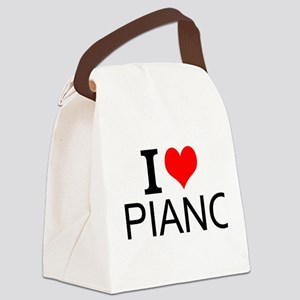 I Love Piano Canvas Lunch Bag