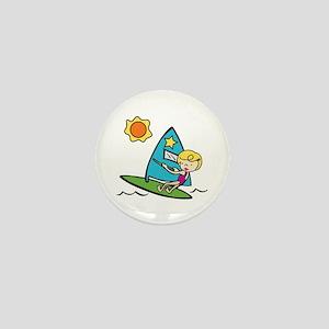 Windsurfing Girl Mini Button