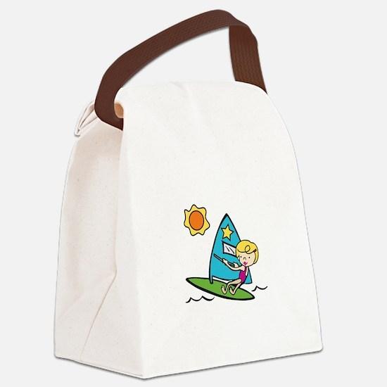 Windsurfing Girl Canvas Lunch Bag