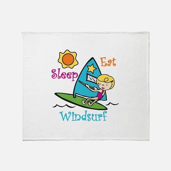 Eat Sleep Windsurf Throw Blanket
