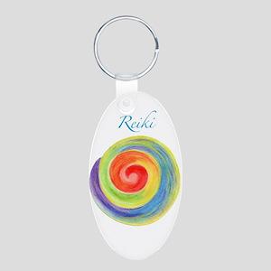 Reiki chakras teal Keychains