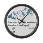Never Lost in the Mts Large Wall Clock