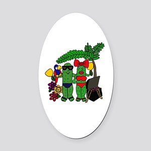 Pickles in Paradise Oval Car Magnet