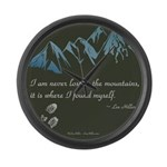 Never Lost in Mountains Large Wall Clock