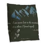 Never Lost in Mountains Burlap Throw Pillow