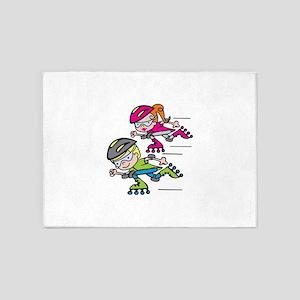 Rollerblading Kids 5'x7'Area Rug