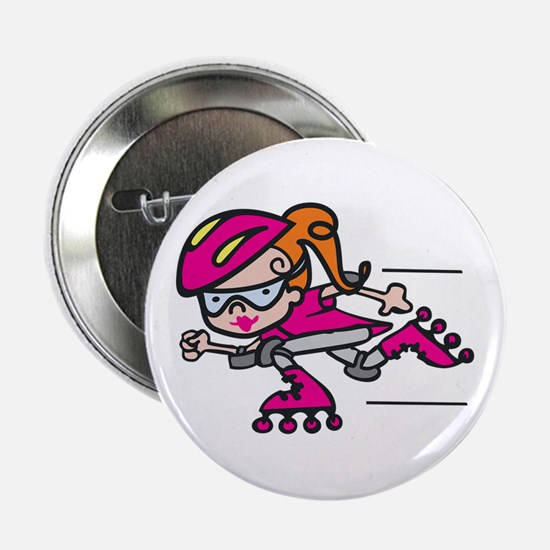 "Rollerblading Girl 2.25"" Button"