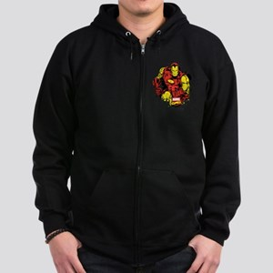 Iron Man Paint Splatter Zip Hoodie (dark)