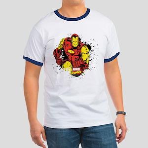 Iron Man Paint Splatter Ringer T