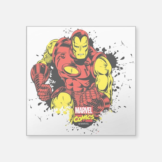 "Iron Man Paint Splatter Square Sticker 3"" x 3"""