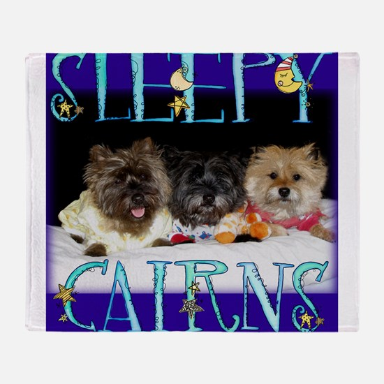 Sleepy Cairn Terriers Throw Blanket