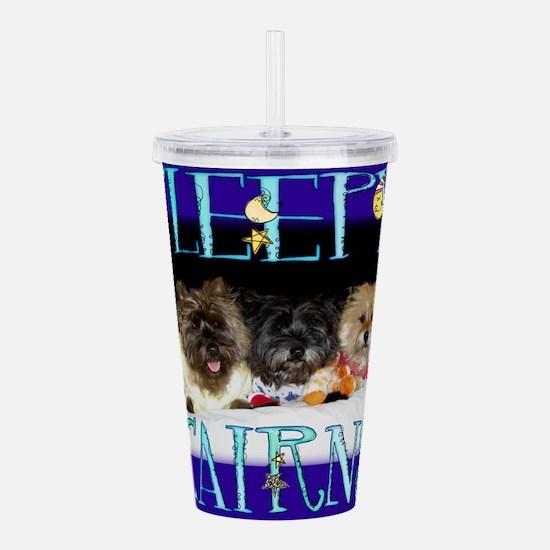 Sleepy Cairn Terriers Acrylic Double-wall Tumbler