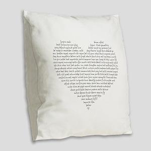 Verb Heart Burlap Throw Pillow