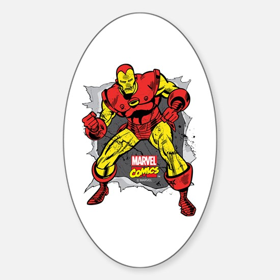 Iron Man Ripped Sticker (Oval)