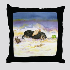 Black and Tan Dachsie Angel Throw Pillow