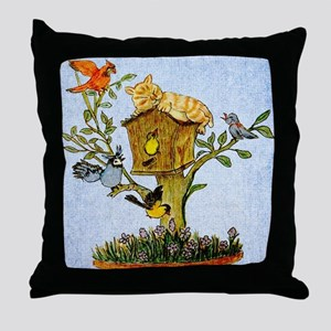 Cat and bird shower curtain Throw Pillow