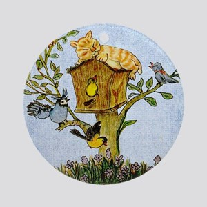 Cat and bird shower curtain Round Ornament