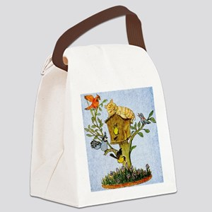 Cat and bird shower curtain Canvas Lunch Bag