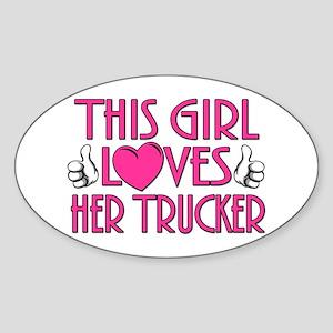 This Girl Loves Her Trucker Sticker (Oval)
