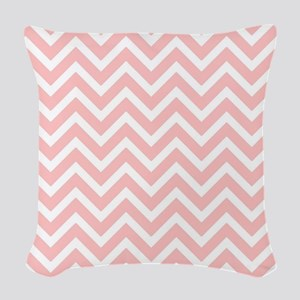 Baby pink and white chevrons Woven Throw Pillow