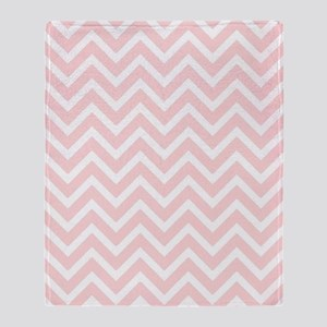 flesh pink and white chevrons Throw Blanket
