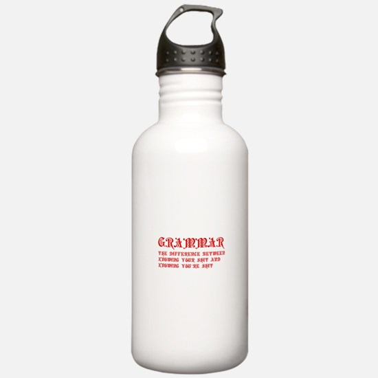 grammar-difference-shit-pre-red Water Bottle