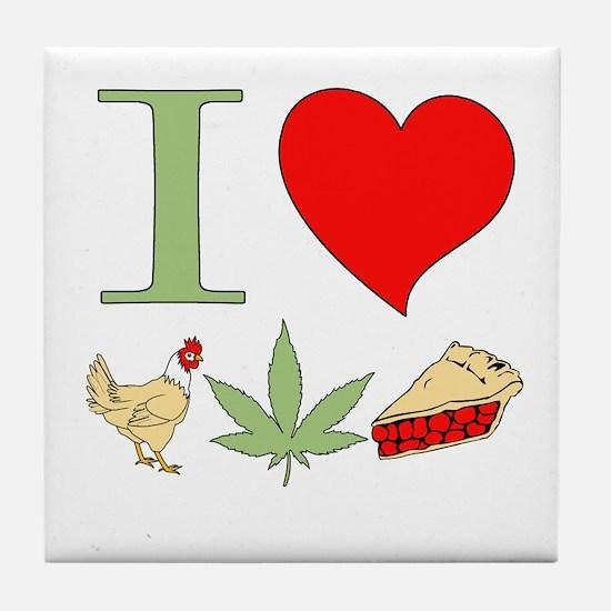 I Love Chicken Pot Pie Tile Coaster