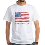 America Mens Classic White T-Shirts