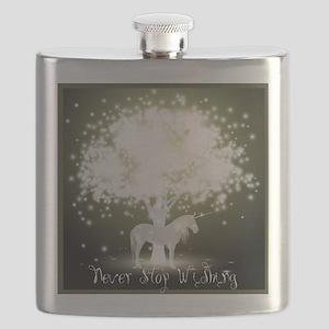 Never Stop Wishing Unicorn Flask