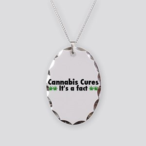Cannabis Cures Its A Fact Necklace Oval Charm