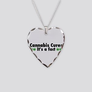 Cannabis Cures Its A Fact Necklace Heart Charm