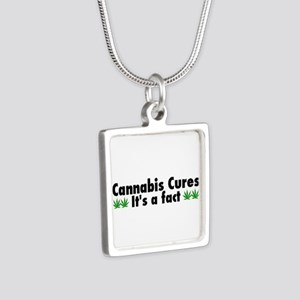 Cannabis Cures Its A Fact Silver Square Necklace