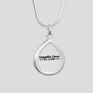 Cannabis Cures Its A Fac Silver Teardrop Necklace
