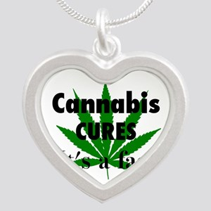 Cannabis Cures Its A Fact Silver Heart Necklace