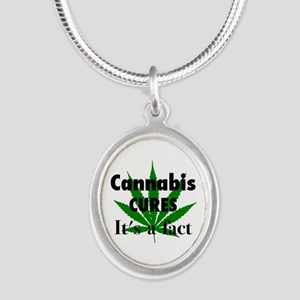 Cannabis Cures Its A Fact Silver Oval Necklace