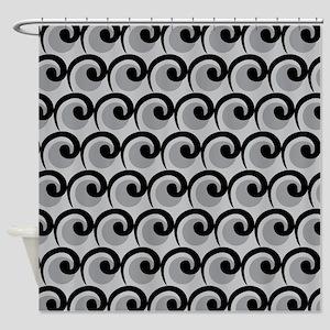 Art Deco black gray Shower Curtain