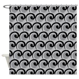 Black Art Deco Shower Curtains
