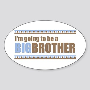 going to be a big brother brown blue Sticker (Oval