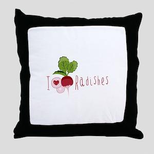 I Love Radishes Throw Pillow