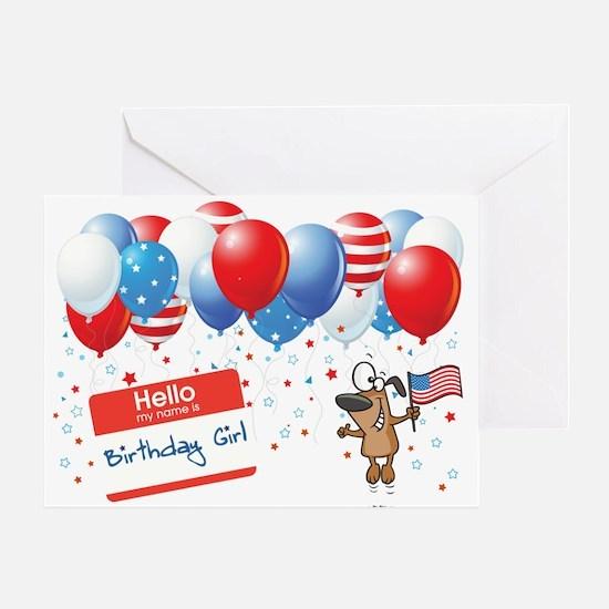 4th of JULY BIRTHDAY GIRL Greeting Card