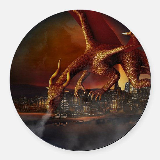Dragon Attack Round Car Magnet