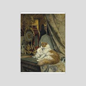 Cats, Clocks, Vintage Art 5'x7'area Rug