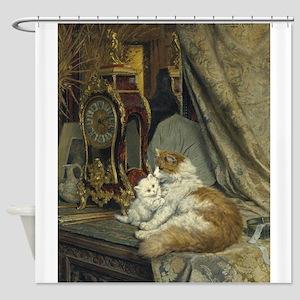 Cats, Clocks, Vintage Art Shower Curtain