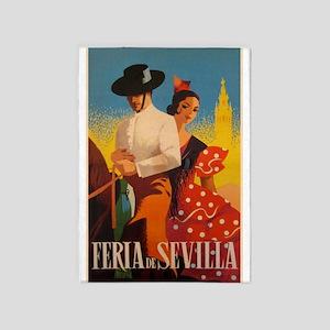 Feria De Sevilla, Spain, Vintage Art 5'x7'area Rug