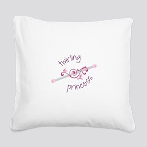 Twirling Princess Baton Square Canvas Pillow