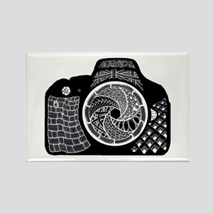Camera Decorated in Black and White Doodle Magnets