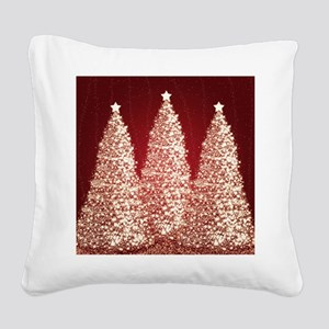 Gold Christmas Trees Square Canvas Pillow