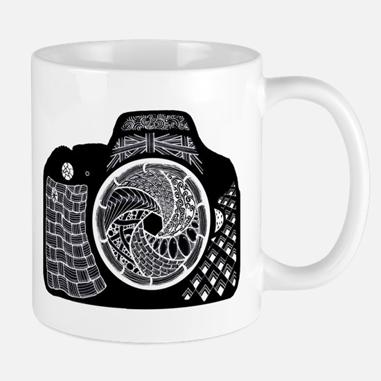 Camera Decorated in Black and White Doodle Mugs