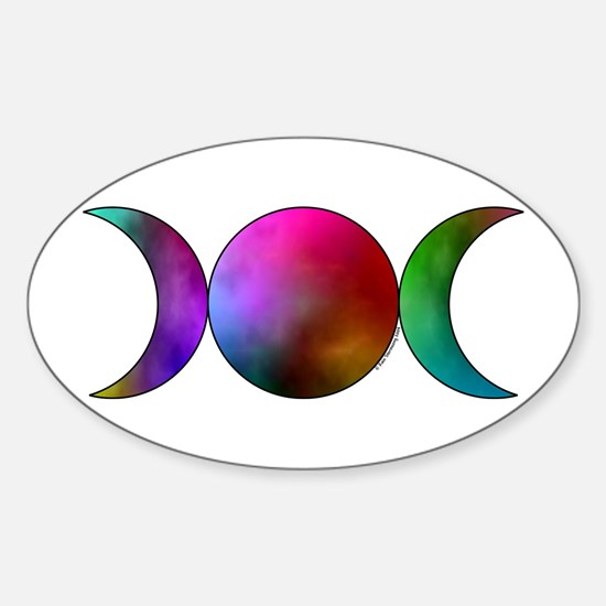 Triple Moon Oval Sticker - Watercolor